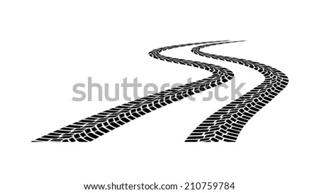 car tread silhouette on a white background - stock vector