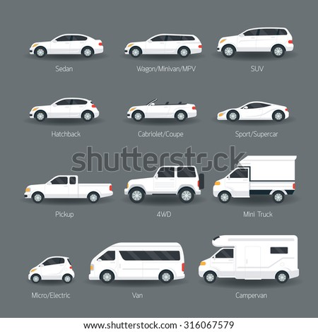 car type model objects icons set stock vector royalty. Black Bedroom Furniture Sets. Home Design Ideas