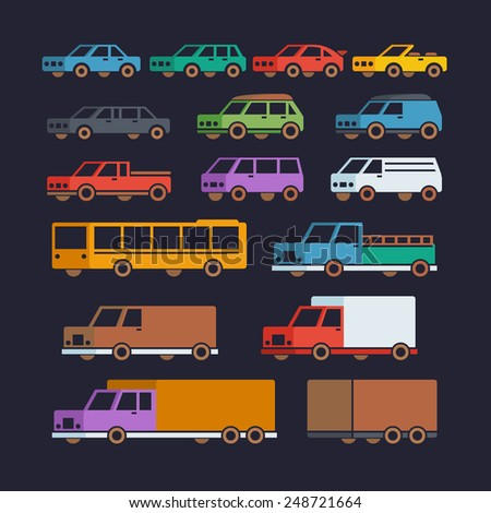 Car Types Flat Icons - stock vector