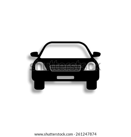 Car vector icon with shadow - stock vector