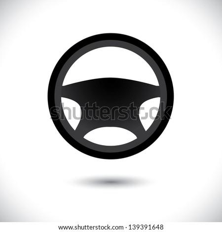 Car, vehicle or automobile steering wheel icon or symbol - vector graphic. - stock vector