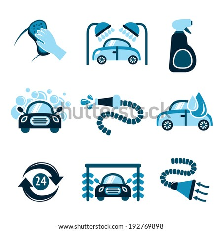 Car wash auto cleaner 24h service isolated icons vector illustration - stock vector