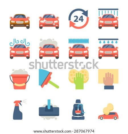 Car wash auto cleaner washer shower service flat icons - stock vector
