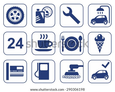 Car wash, auto repair, tire service, cafe, icons, monochrome, flat. Monochrome, simple icons representing services automotive services, and gas stations. For websites and printing.