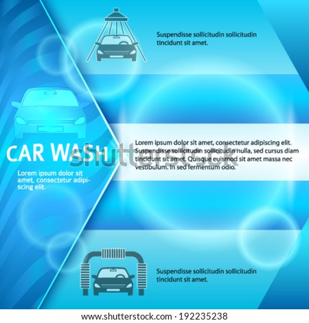 Car wash blue light background with icons design elements. Modern business presentation template for car-wash cover brochure. Abstract vector illustration eps 10 can be for flyer layout, web banner - stock vector