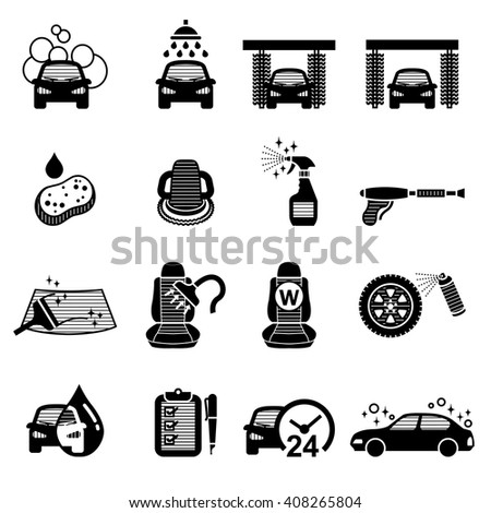 Car Wash, Car Care icons set - vector illustration
