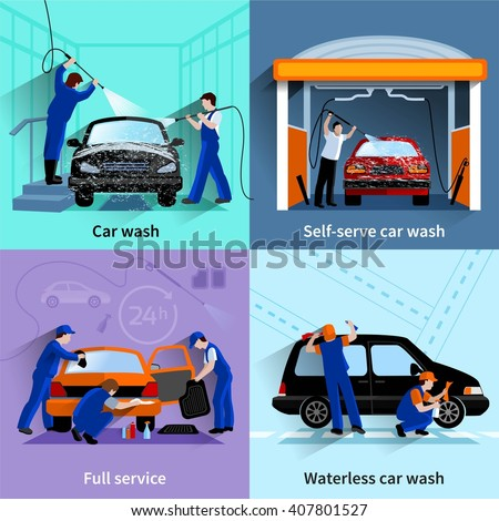 car wash center full and self service facilities 4 flat icons square composition abstract vector isolated