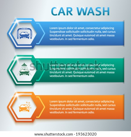 Car wash  design elements background with icons on color stripe. Modern business presentation template for car-wash business. Abstract vector illustration eps 10 can be used for web banner  - stock vector