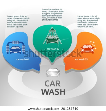 Car wash design elements background with icons on web banner. Modern business presentation template for car-wash business. Abstract vector illustration eps 10   - stock vector