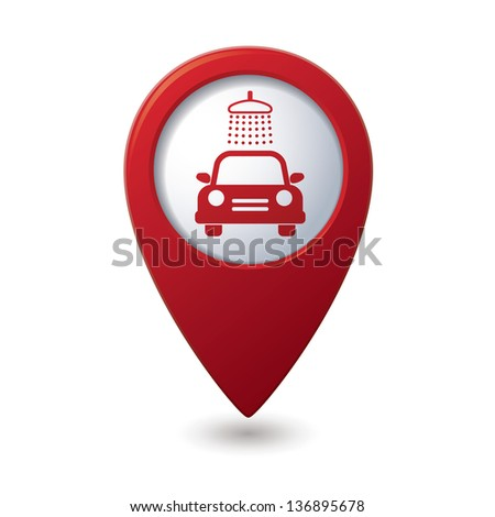Car wash icon on map pointer. - stock vector