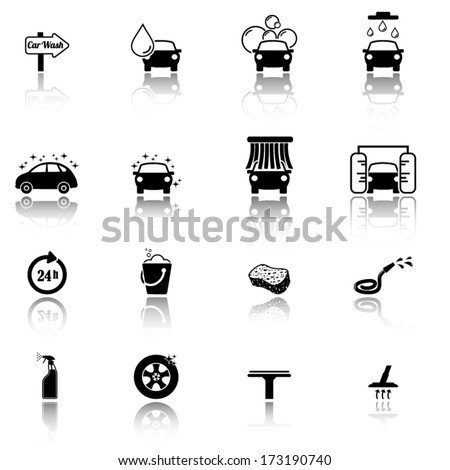 Car wash icons - stock vector