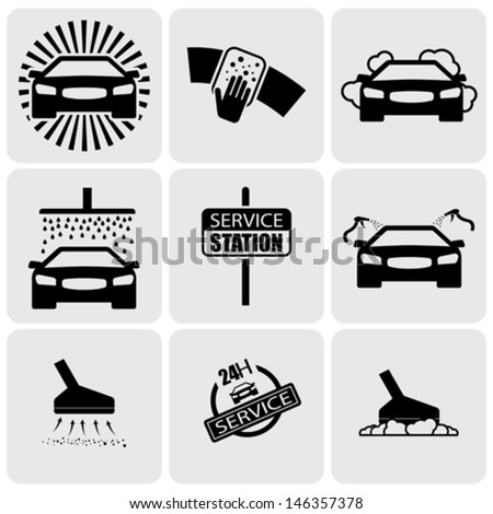 car wash icons ( signs ) set of cleaning car- vector graphic. This illustration represents nine symbols of washing and cleaning in a 24 hour service station - stock vector