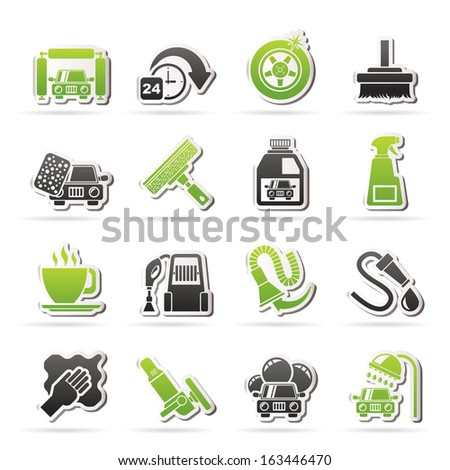 car wash objects and icons - vector icon set - stock vector