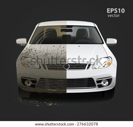 Car wash service creative concept. Hd high detailed 3d color vector illustration. - stock vector