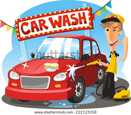 Car Wash Sign with boy washing vehicle, vector illustration cartoon. - stock vector