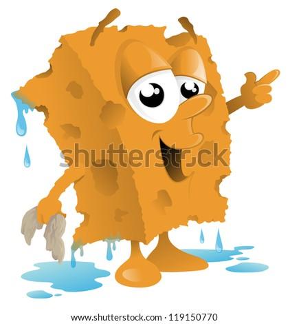 Car Wash Sponge Cartoon - stock vector