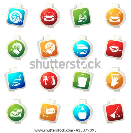 Car wash stickers label icon set for web sites