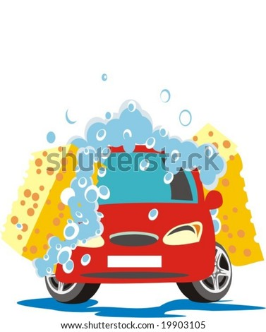 car wash two sponges with shampoo - stock vector
