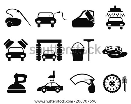 car washing icons set - stock vector