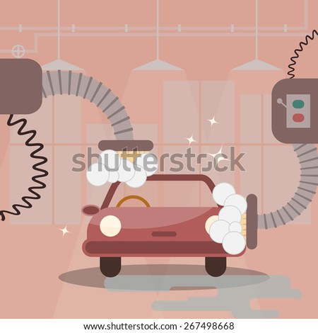 Car washing machine vector illustration - stock vector