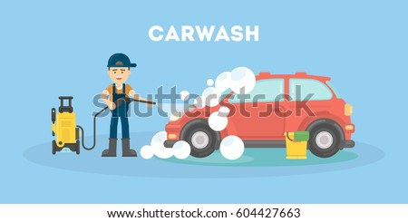 car washing service funny man in uniform washes red car with soap and water