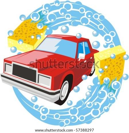 car washing sign - stock vector