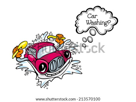 Car washsing service emblem with car, brush and water in cartoon style. Suitable for service design - stock vector