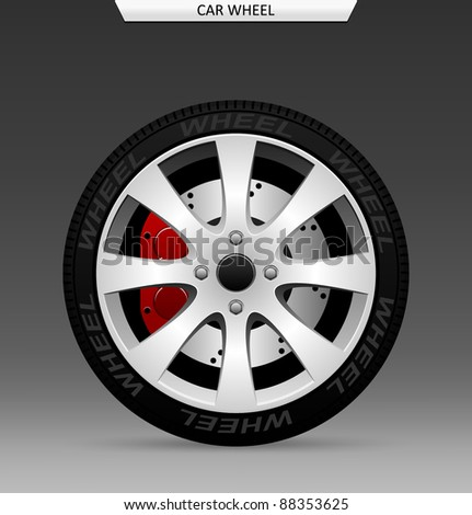 Car wheel - stock vector