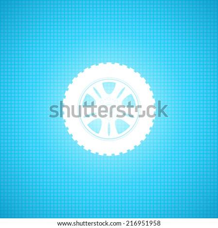 Car wheel flat icon - Vector - stock vector