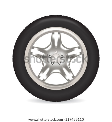 Car wheel front. Vector illustration - stock vector