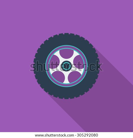 Car wheel icon. Flat vector related icon with long shadow for web and mobile applications. It can be used as - logo, pictogram, icon, infographic element. Vector Illustration. - stock vector