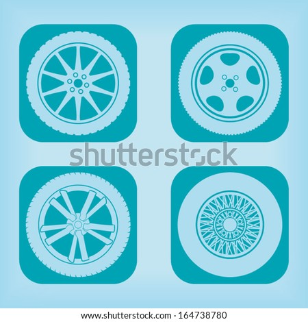 Car wheel icon - four variations - stock vector