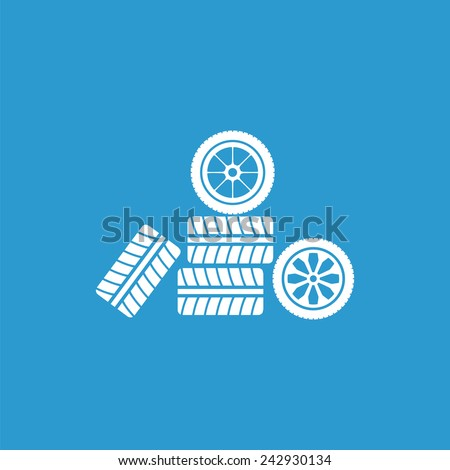 Car wheel icon, isolated, white on the blue background. Exclusive Symbols  - stock vector
