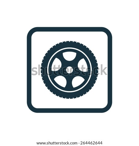 car wheel icon Rounded squares button, on white background  - stock vector