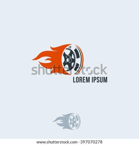 Car wheel in fire flame. Vector logo design. Template. Car wheel icon. Wheel in Fire flame logo design. - stock vector