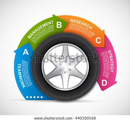 Car Wheel Infographic Design Template. Vector illustration  - stock vector
