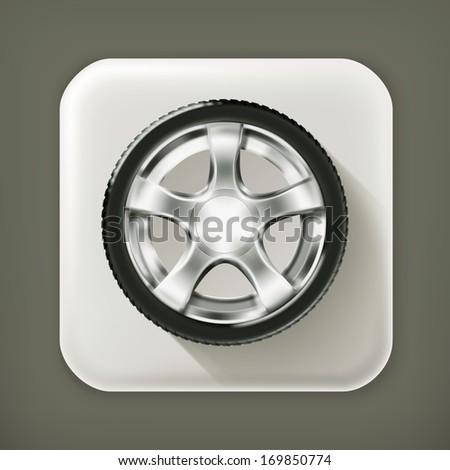 Car Wheel, long shadow vector icon - stock vector
