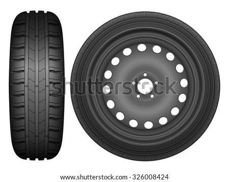 Car wheel rim tire on a white background.
