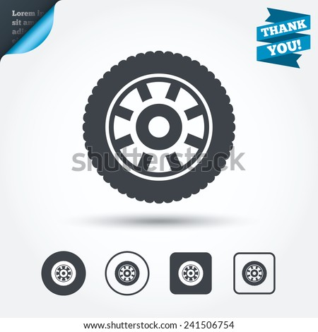 Car wheel sign icon. Circular transport component symbol. Circle and square buttons. Flat design set. Thank you ribbon. Vector - stock vector