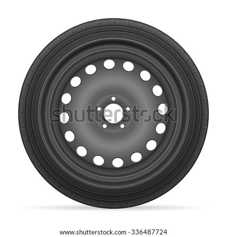 Car wheel tire on a white background.