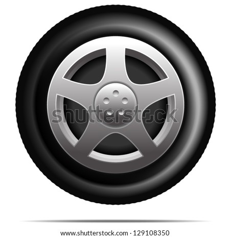 car wheel tire vector - stock vector
