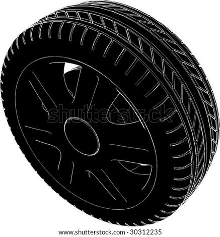 Car Wheel Tire Vector 02 - stock vector