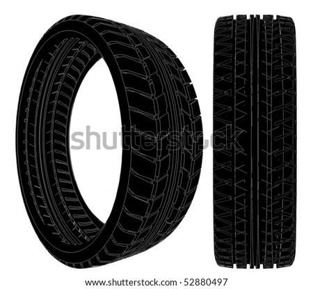 Car Wheel Tire Vector 09 - stock vector