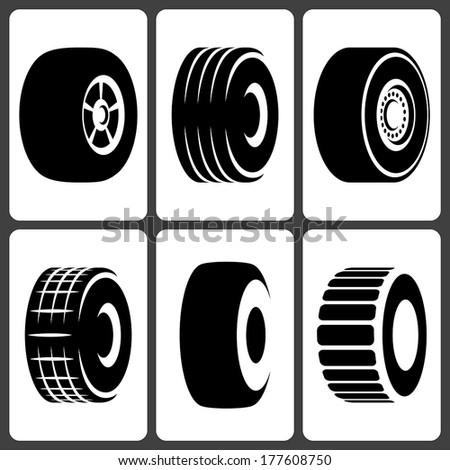 Car Wheel Tires Icons Set - stock vector
