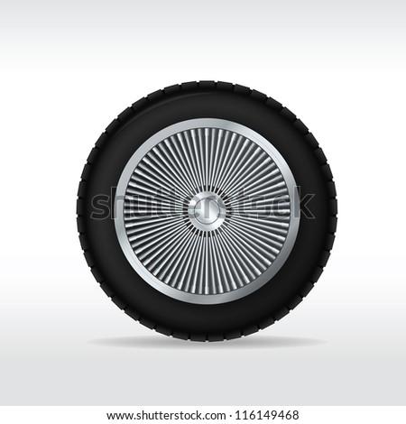 Car wheel. Vector illustration - stock vector