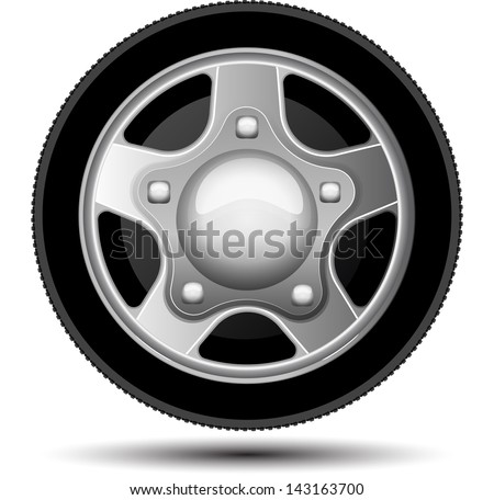 Car wheel. Vector illustration on white background - stock vector
