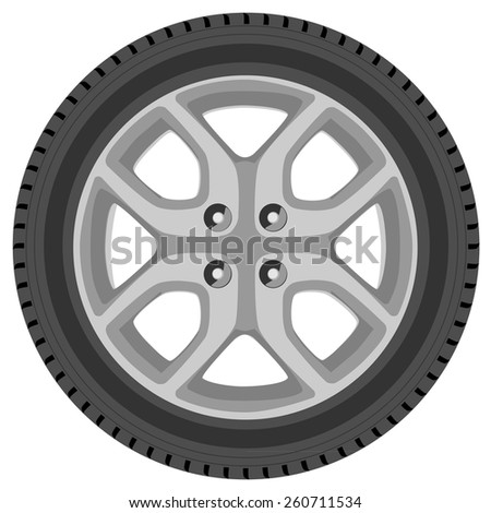 Car wheel vector isolated, car tire, transport wheel