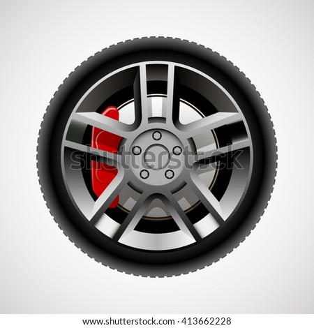 Car wheel with tire and brakes - stock vector