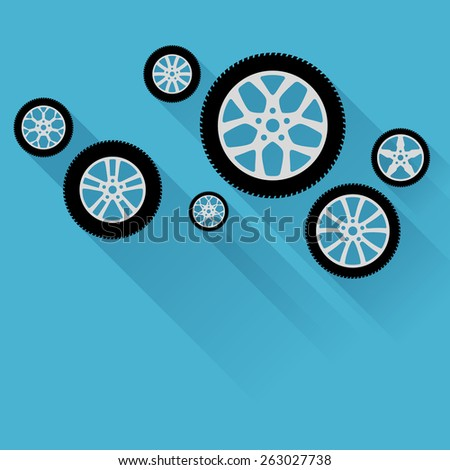 Car wheels with flat shadow on a blue background - stock vector