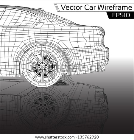 Car Wireframe | EPS10 Vector - stock vector